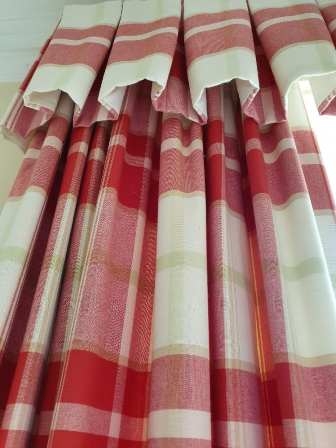 Large, red check curtains