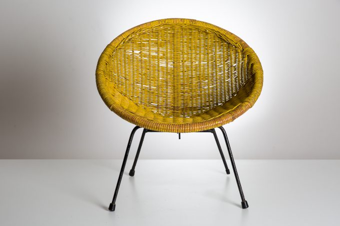 Yellow wicker child's Vintage Chair