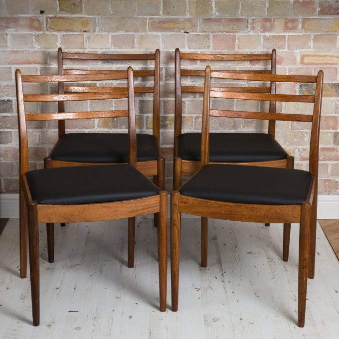 A Mid Century set of six teak dining chairs designed by Victor Wilkins and manufactured by G-Plan in the 1960s Gplan furniture